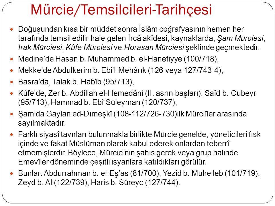 Mürcie/Temsilcileri-Tarihçesi Mürcie, Kûfe'de Ehl-i Re'y ile aynileşerek, hem fıkhî hem de itikâdî yönü ağır basan bir mezhep hüviyeti kazanmıştır.