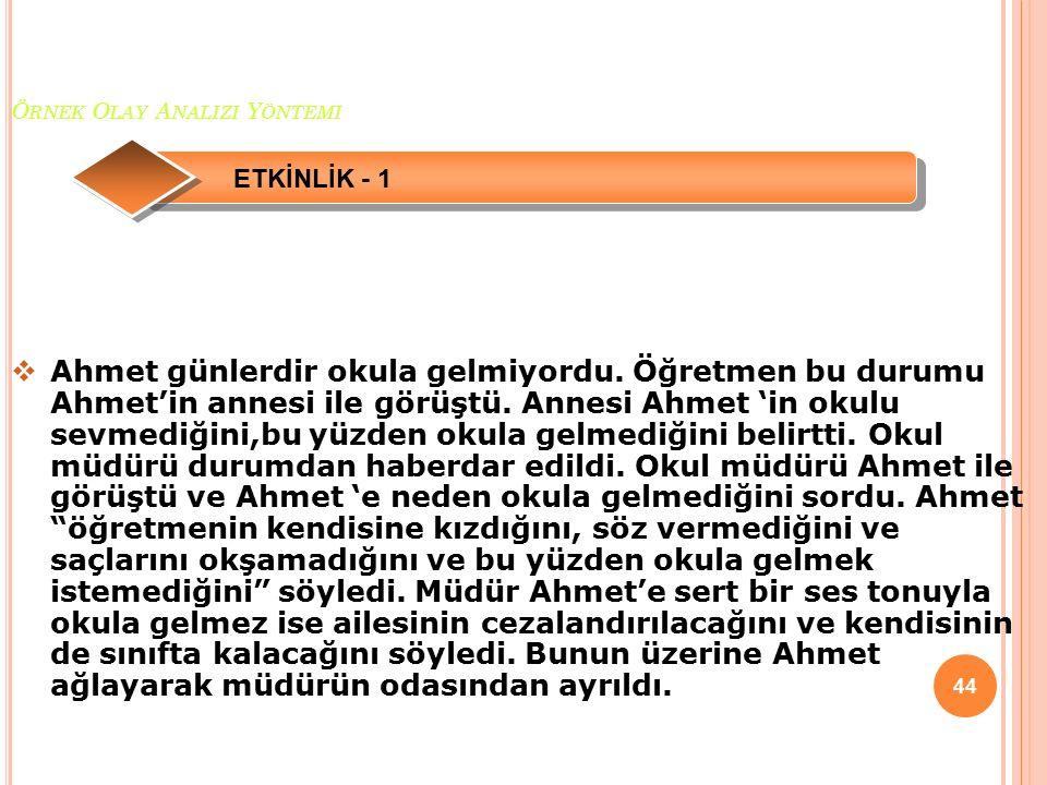 Ö RNEK O LAY A NALIZI Y ÖNTEMI 45  1-Ahmet'in yerinde olsaydınız ne yapardınız.