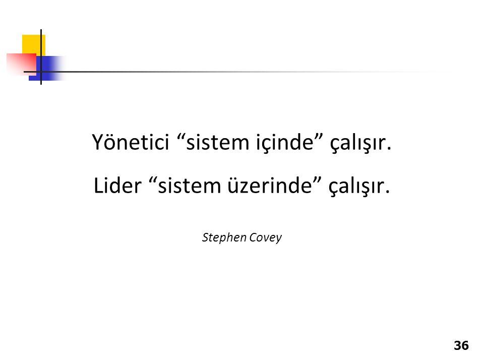 """Yönetici """"sistem içinde"""" çalışır. Lider """"sistem üzerinde"""" çalışır. Stephen Covey 36"""