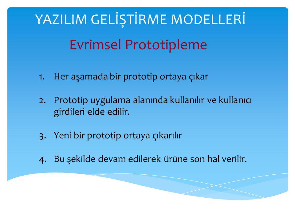 YAZILIM GELİŞTİRME MODELLERİ Evrimsel Prototipleme 1.Her aşamada bir prototip ortaya çıkar 2.Prototip uygulama alanında kullanılır ve kullanıcı girdileri elde edilir.