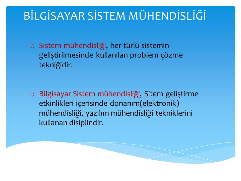 BİLGİSAYAR SİSTEM MÜHENDİSLİĞİ o Sistem mühendisliği, her türlü sistemin geliştirilmesinde kullanılan problem çözme tekniğidir.