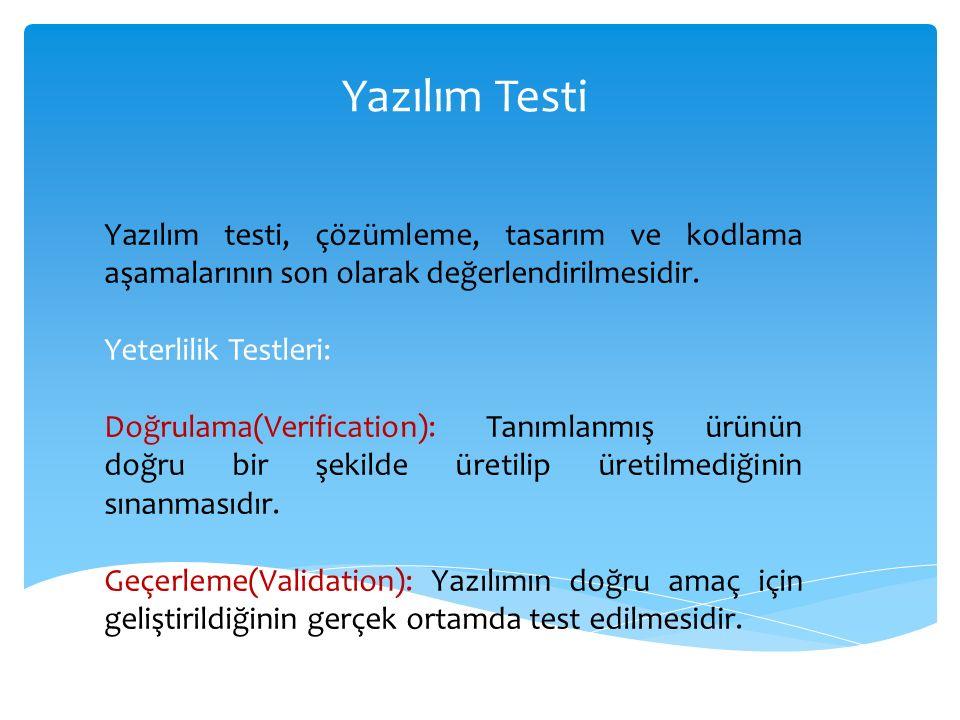 Yazılım Testi Yazılım testi, çözümleme, tasarım ve kodlama aşamalarının son olarak değerlendirilmesidir.