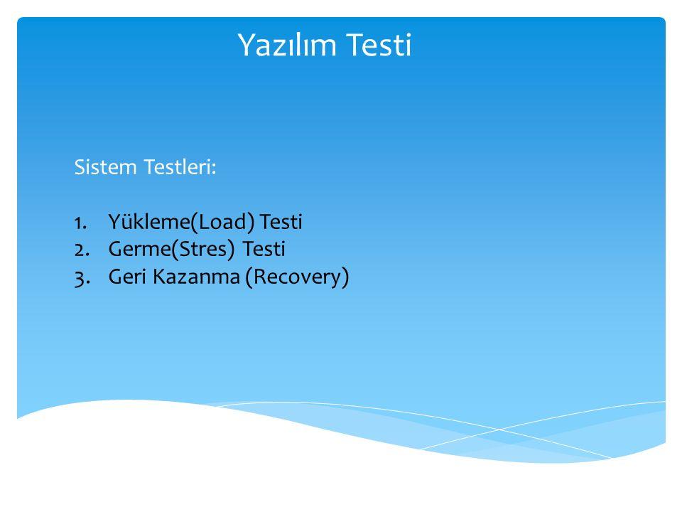 Yazılım Testi Sistem Testleri: 1.Yükleme(Load) Testi 2.Germe(Stres) Testi 3.Geri Kazanma (Recovery)