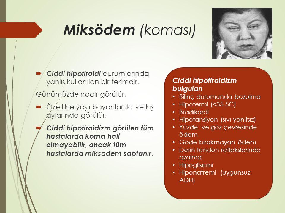 Miksödem (koması) Enfenksiyon, sepsis Soğuğa maruziyet Serebrovasküler olaylar İlaçlar (sedatif hipnotikler, narkotikler, anestetik ilaçlar, amiodaron, lityum, fenitoin) Miyokard infarktüsü Gastrointestinal kanama Travma, yanık Konjestif kalp yetmezliği Hipoksi Hiperkapni Hiponatremi Hipoglisemi Hiperkalsemi Diabetik ketoasidoz Miksödem komasının ortaya çıkmasını kolaylaştırıcı faktörler