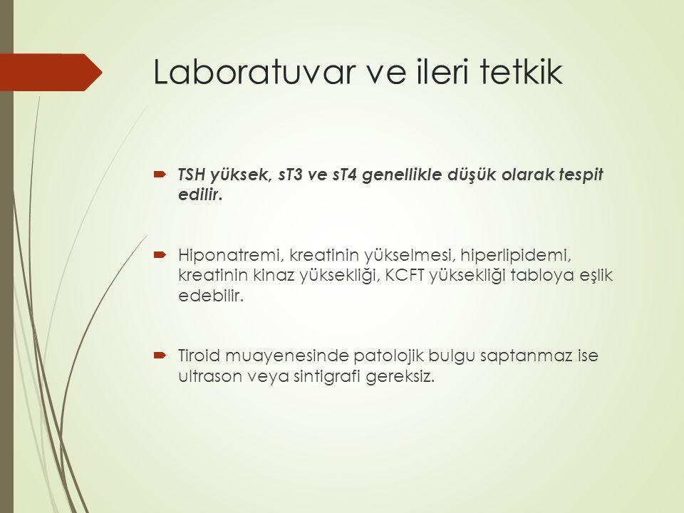 Laboratuvar ve ileri tetkik  TSH yüksek, sT3 ve sT4 genellikle düşük olarak tespit edilir.  Hiponatremi, kreatinin yükselmesi, hiperlipidemi, kreati