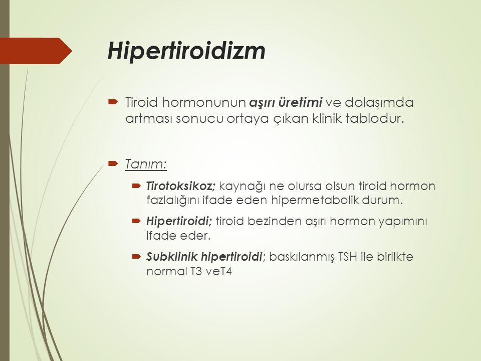 Hipertiroidizm  Tiroid hormonunun aşırı üretimi ve dolaşımda artması sonucu ortaya çıkan klinik tablodur.  Tanım:  Tirotoksikoz; kaynağı ne olursa
