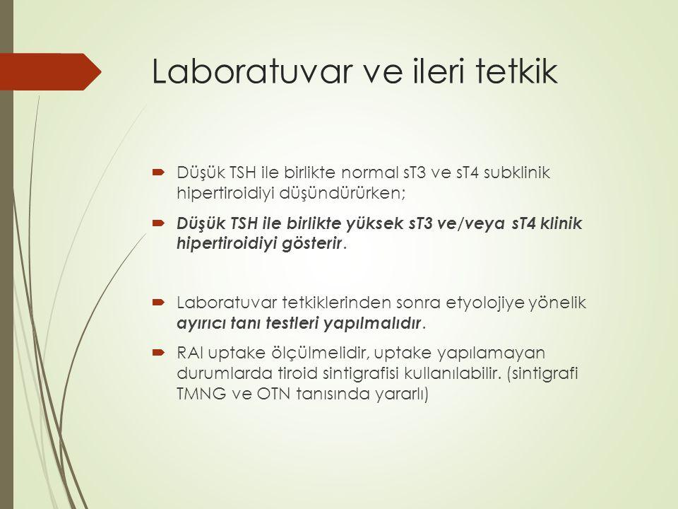 Laboratuvar ve ileri tetkik  Düşük TSH ile birlikte normal sT3 ve sT4 subklinik hipertiroidiyi düşündürürken;  Düşük TSH ile birlikte yüksek sT3 ve/