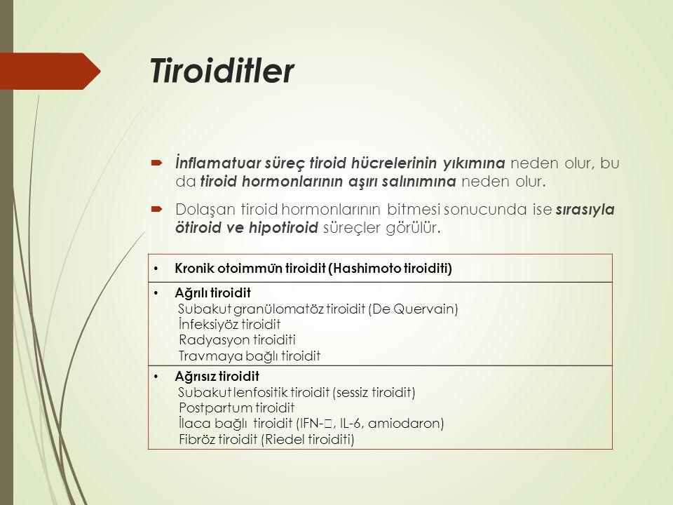 Tiroiditler  İnflamatuar süreç tiroid hücrelerinin yıkımına neden olur, bu da tiroid hormonlarının aşırı salınımına neden olur.  Dolaşan tiroid horm