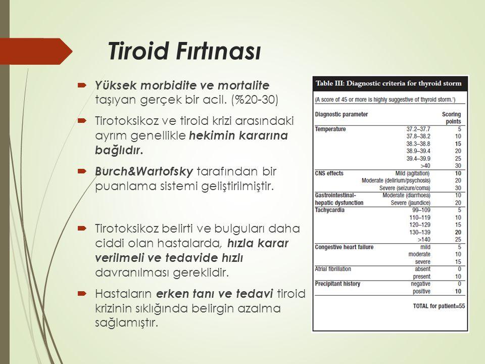 Tiroid Fırtınası  Yüksek morbidite ve mortalite taşıyan gerçek bir acil. (%20-30)  Tirotoksikoz ve tiroid krizi arasındaki ayrım genellikle hekimin