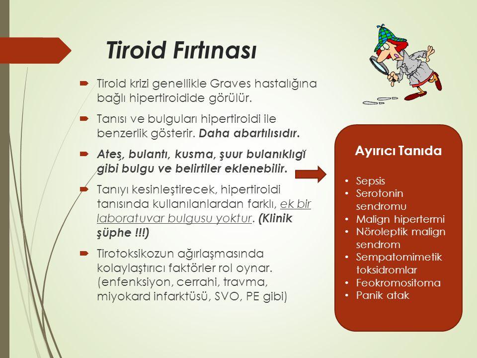 Tiroid Fırtınası  Tiroid krizi genellikle Graves hastalığına bağlı hipertiroidide görülür.  Tanısı ve bulguları hipertiroidi ile benzerlik gösterir.