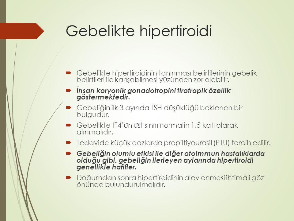 Gebelikte hipertiroidi  Gebelikte hipertiroidinin tanınması belirtilerinin gebelik belirtileri ile karışabilmesi yüzünden zor olabilir.  İnsan koryo