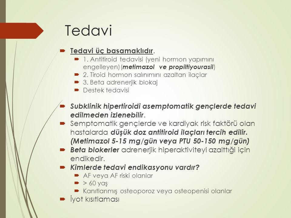 Tedavi  Tedavi üç basamaklıdır.  1. Antitiroid tedavisi (yeni hormon yapımını engelleyen)( metimazol ve propiltiyourasil )  2. Tiroid hormon salını