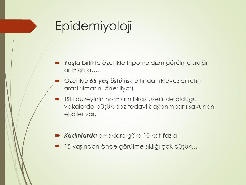 Epidemiyoloji  Yaş la birlikte özellikle hipotiroidizm görülme sıklığı artmakta….  Özellikle 65 yaş üstü risk altında (klavuzlar rutin araştırılması