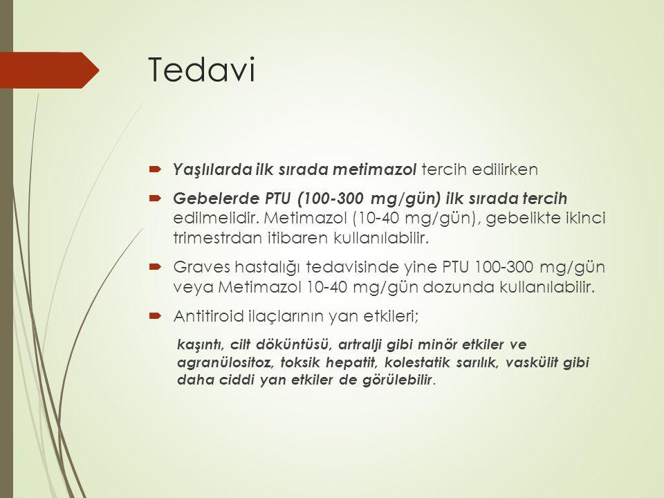 Tedavi  Tiroid fırtınası tedavisi iki başlık altında toplanır; Hipertiroidi etkisini azaltan tedavi 1) Antitiroid tedavi (yeni hormon yapımını o ̈ nlemek amacı ile) Propiltiyourasil, 200–400 mg, po 6–8 saatte bir Metimazol, 20–25 mg, po 6 saatte bir 2) Tiroid hormon salgılanmasının azaltılması Satu ̈ re potasyum iyodu ̈ r (SPI ̇ ), 3–5 damla, po 6 saatte bir Lugol solu ̈ syonu, 4–8 damla, po 6–8 saatte bir Sodyum ipodat (500 mg'lık tablette 308 mg iyot bulunur) 1–3 g/gu ̈ n po İyopanoik asit, 1 g po 8 saatte bir 24 saat su ̈ reyle, sonra 500 mg po 12 saatte bir 3) Beta adrenerjik blokaj Propranolol, 60–80 mg 6 saatte bir Atenolol, 50–200 mg po/gu ̈ nde Metoprolol, 100–200 mg po/gu ̈ nde Nadolol, 40–80 mg po/gu ̈ nde Esmolol (I ̇ V), 50–100 ug/kg/dak Destek tedavi 1) Kolaylas ̦ tırıcı (altta yatan) hastalık tedavisi 2) Sıvı ve elektrolit desteg ̆ i Ates ̦ du ̈ s ̦ u ̈ ru ̈ cu ̈ -sedatif- antibiyotik (gereg ̆ inde) 3) Glukokortikoid tedavi Hidrokortizon, 50–100 mg I ̇ V 6–8 saatte bir veya es ̦ deg ̆ eri 4) Ek tedaviler Lityum karbonat, 300 mg po 8 saatte bir Kolestramin, po 4 g/gu ̈ nde 4 kez Plazmaferez