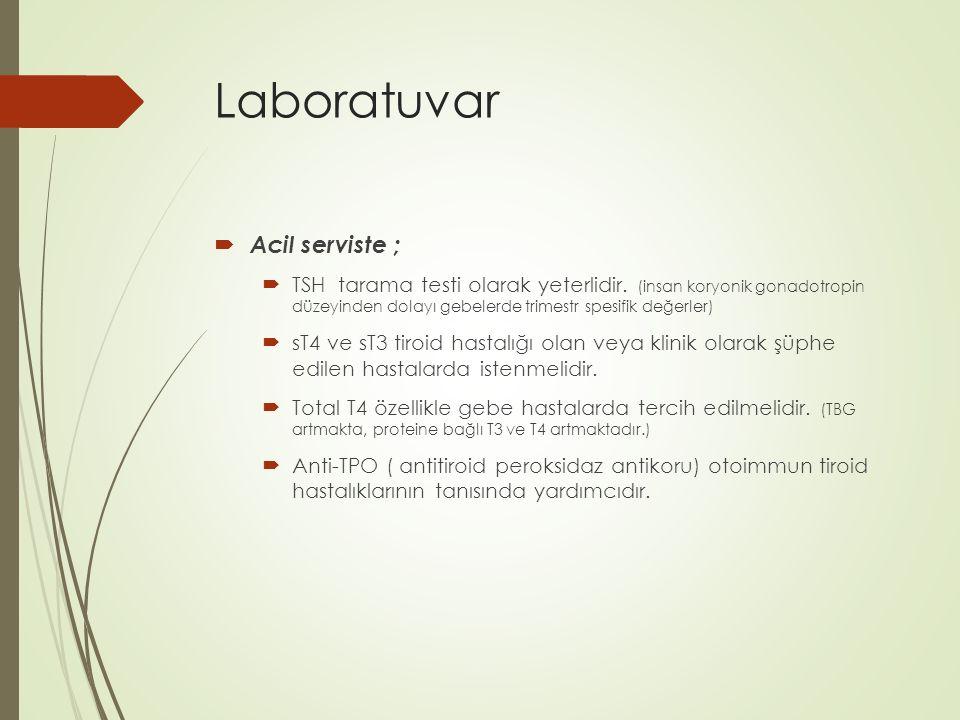 Laboratuvar  Acil serviste ;  TSH tarama testi olarak yeterlidir. (insan koryonik gonadotropin düzeyinden dolayı gebelerde trimestr spesifik değerle
