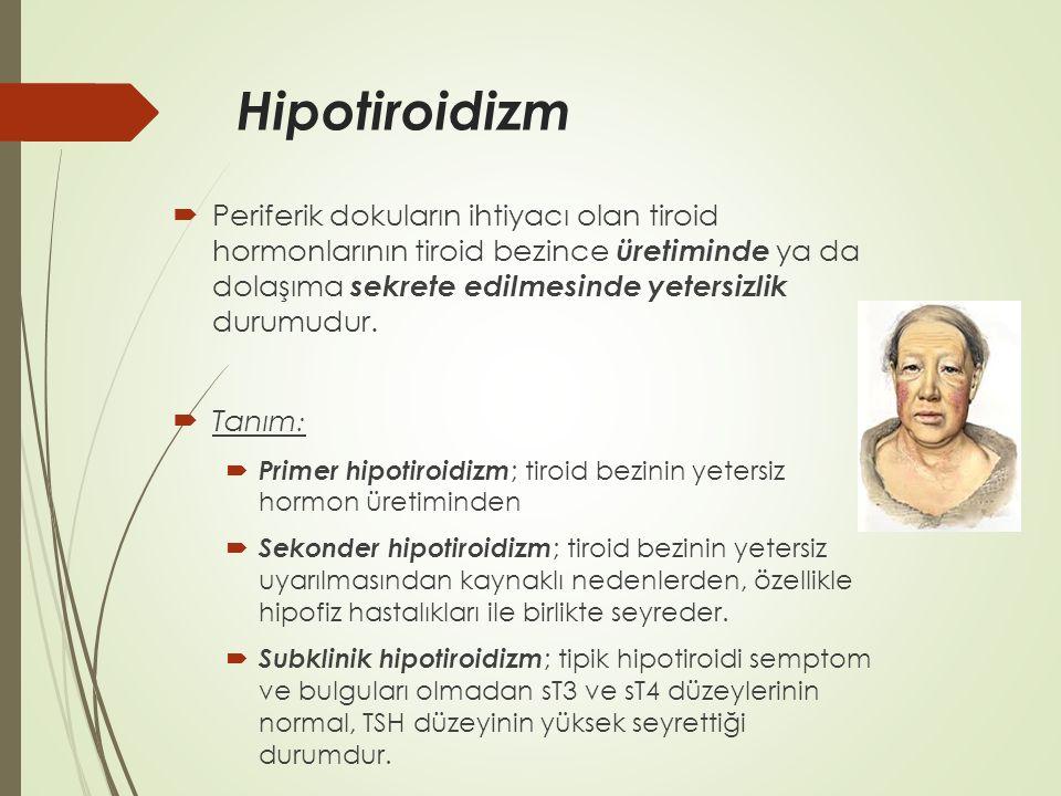 Hipotiroidizm  Periferik dokuların ihtiyacı olan tiroid hormonlarının tiroid bezince üretiminde ya da dolaşıma sekrete edilmesinde yetersizlik durumu