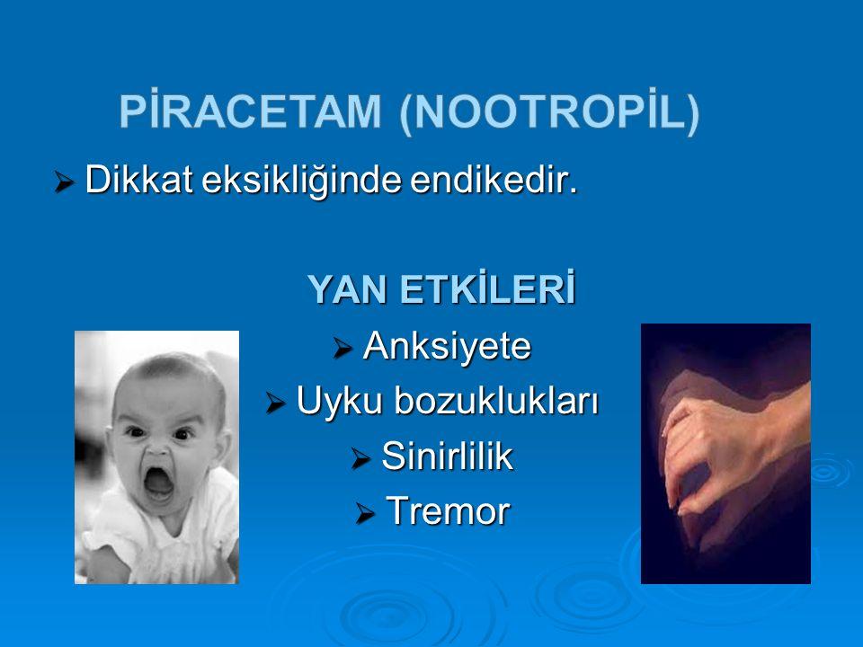 HALOPERİDOL HALOPERİDOL (NORODOL) (NORODOL)  Mental retarde olan hastalarda saldırganlık ve hiperaktivite gibi ruhsal,davranışsal bozukluklarda endikedir.