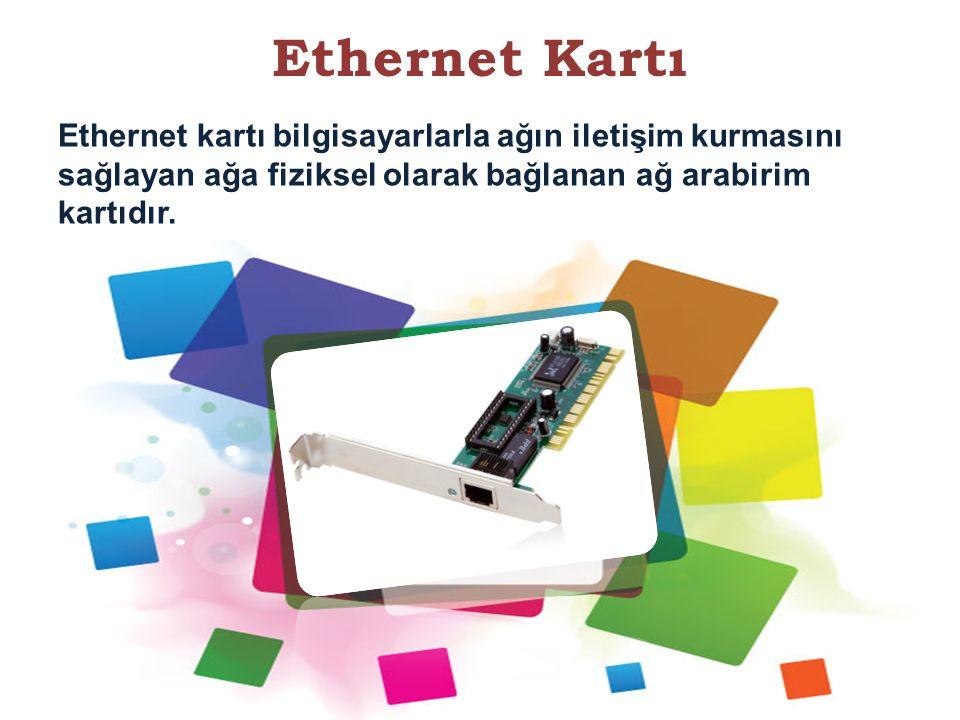 Ethernet Kartı Ethernet kartı bilgisayarlarla ağın iletişim kurmasını sağlayan ağa fiziksel olarak bağlanan ağ arabirim kartıdır. 27