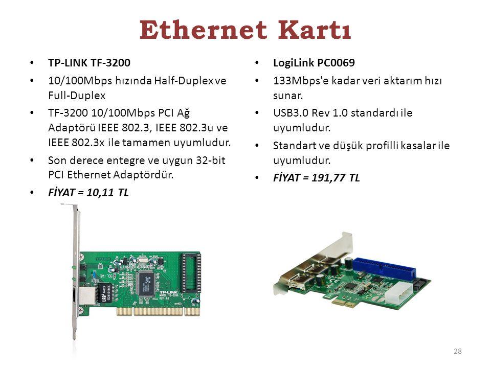 TP-LINK TF-3200 10/100Mbps hızında Half-Duplex ve Full-Duplex TF-3200 10/100Mbps PCI Ağ Adaptörü IEEE 802.3, IEEE 802.3u ve IEEE 802.3x ile tamamen uy