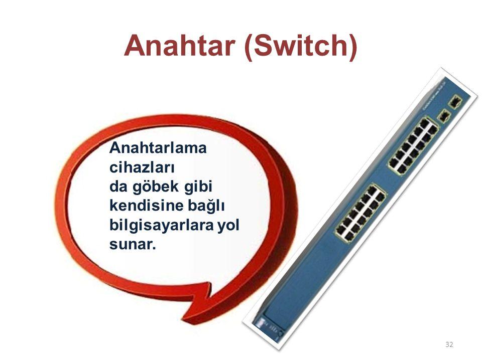 Anahtar (Switch) 32 Anahtarlama cihazları da göbek gibi kendisine bağlı bilgisayarlara yol sunar.