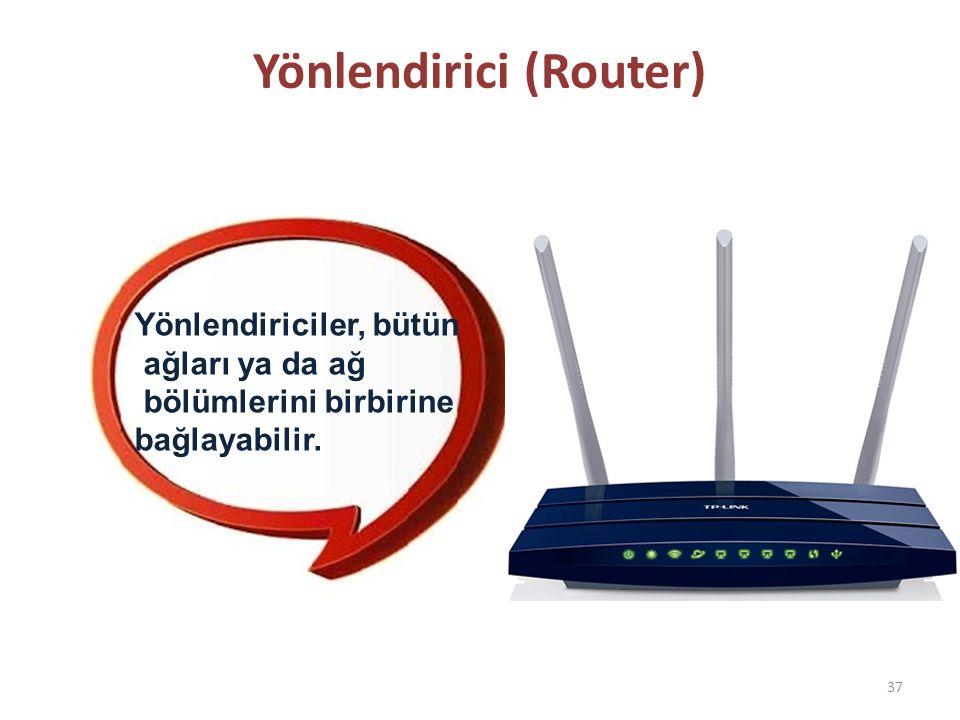 Yönlendirici (Router) 37 Yönlendiriciler, bütün ağları ya da ağ bölümlerini birbirine bağlayabilir.