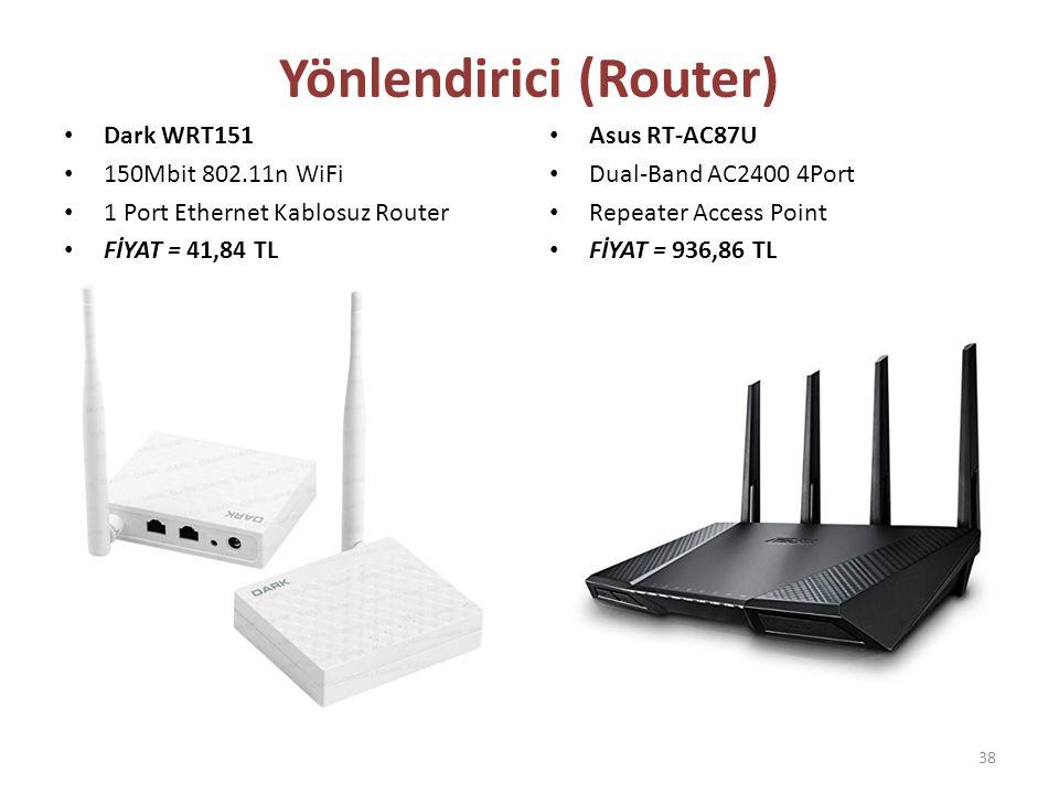 Dark WRT151 150Mbit 802.11n WiFi 1 Port Ethernet Kablosuz Router FİYAT = 41,84 TL Asus RT-AC87U Dual-Band AC2400 4Port Repeater Access Point FİYAT = 9