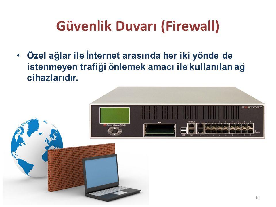 Güvenlik Duvarı (Firewall) Özel ağlar ile İnternet arasında her iki yönde de istenmeyen trafiği önlemek amacı ile kullanılan ağ cihazlarıdır. 40