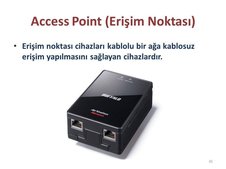Access Point (Erişim Noktası) Erişim noktası cihazları kablolu bir ağa kablosuz erişim yapılmasını sağlayan cihazlardır. 42
