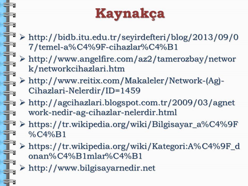  http://bidb.itu.edu.tr/seyirdefteri/blog/2013/09/0 7/temel-a%C4%9F-cihazlar%C4%B1  http://www.angelfire.com/az2/tamerozbay/networ k/networkcihazlar