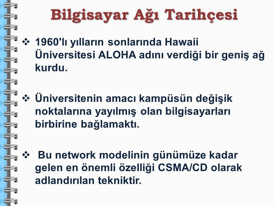  1960'lı yılların sonlarında Hawaii Üniversitesi ALOHA adını verdiği bir geniş ağ kurdu.  Üniversitenin amacı kampüsün değişik noktalarına yayılmış