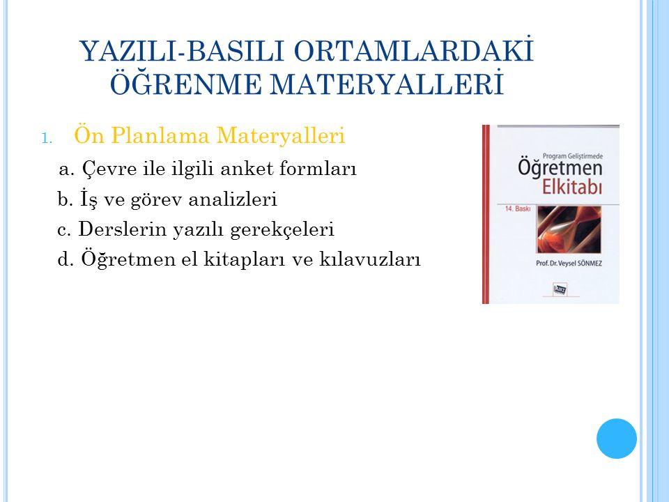 YAZILI-BASILI ORTAMLARDAKİ ÖĞRENME MATERYALLERİ 1. Ön Planlama Materyalleri a. Çevre ile ilgili anket formları b. İş ve görev analizleri c. Derslerin