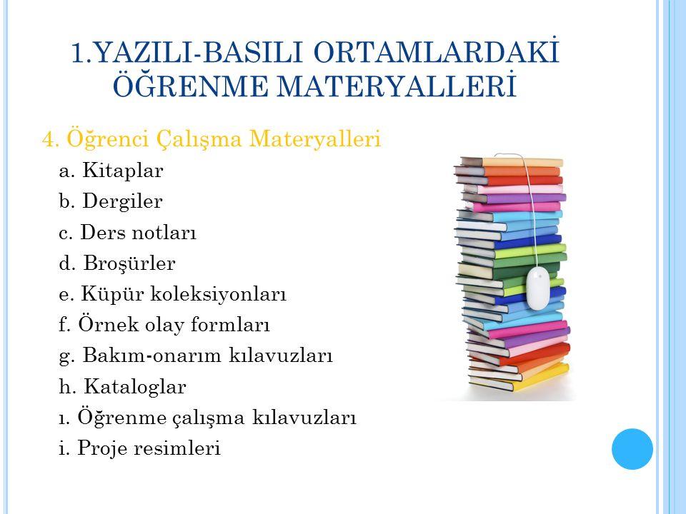 1.YAZILI-BASILI ORTAMLARDAKİ ÖĞRENME MATERYALLERİ 4. Öğrenci Çalışma Materyalleri a. Kitaplar b. Dergiler c. Ders notları d. Broşürler e. Küpür koleks
