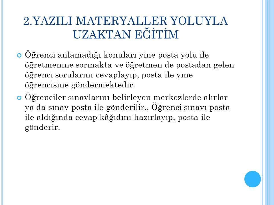UZAKTAN EĞİTİMİ DESTEKLEYEN YAZILI-BASILI MATERYALLER 1.