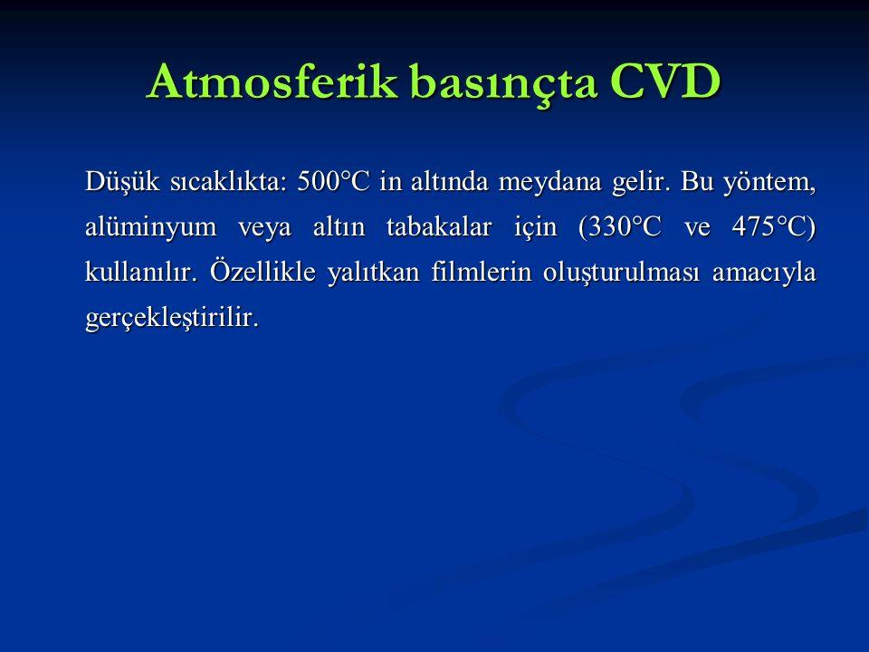 Atmosferik basınçta CVD Düşük sıcaklıkta: 500°C in altında meydana gelir. Bu yöntem, alüminyum veya altın tabakalar için (330°C ve 475°C) kullanılır.