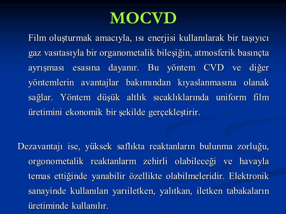 MOCVD Film oluşturmak amacıyla, ısı enerjisi kullanılarak bir taşıyıcı gaz vasıtasıyla bir organometalik bileşiğin, atmosferik basınçta ayrışması esas