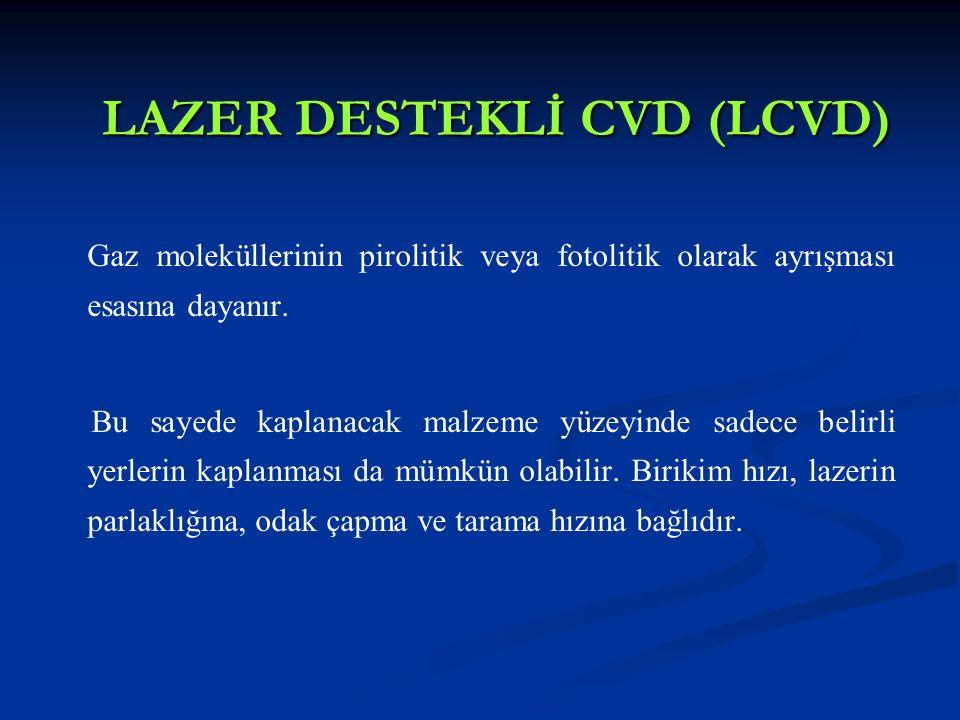 LAZER DESTEKLİ CVD (LCVD) Gaz moleküllerinin pirolitik veya fotolitik olarak ayrışması esasına dayanır. Bu sayede kaplanacak malzeme yüzeyinde sadece