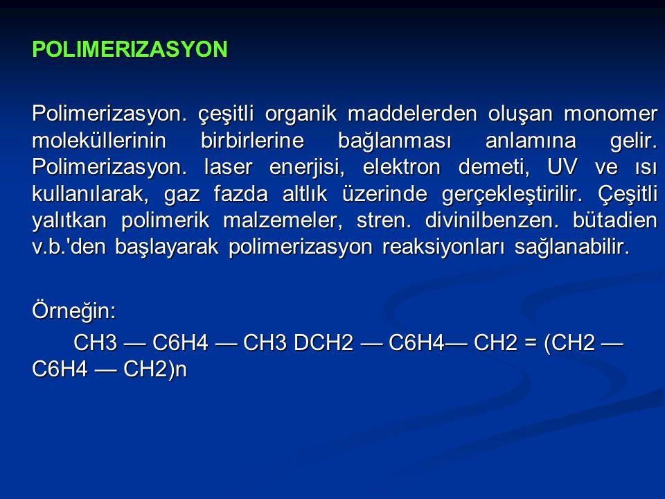 POLIMERIZASYON Polimerizasyon. çeşitli organik maddelerden oluşan monomer moleküllerinin birbirlerine bağlanması anlamına gelir. Polimerizasyon. laser