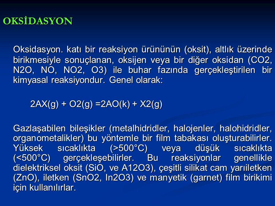 OKSİDASYON Oksidasyon. katı bir reaksiyon ürününün (oksit), altlık üzerinde birikmesiyle sonuçlanan, oksijen veya bir diğer oksidan (CO2, N2O, NO, NO2
