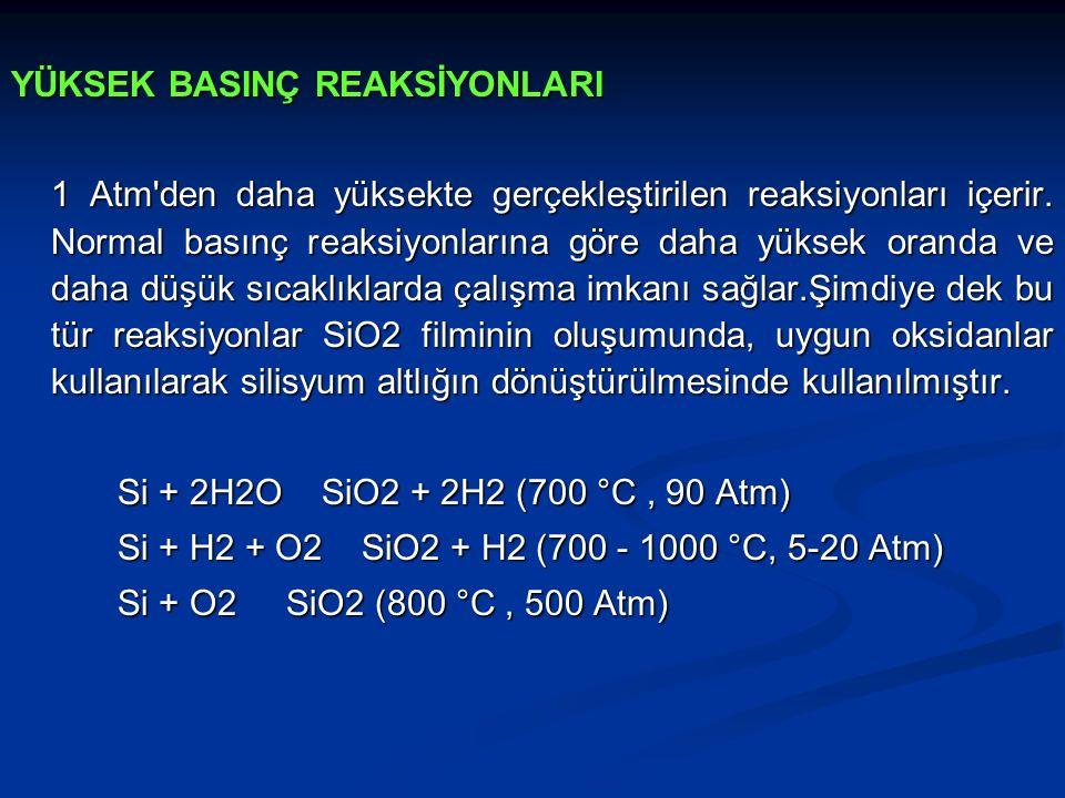 YÜKSEK BASINÇ REAKSİYONLARI 1 Atm'den daha yüksekte gerçekleştirilen reaksiyonları içerir. Normal basınç reaksiyonlarına göre daha yüksek oranda ve da