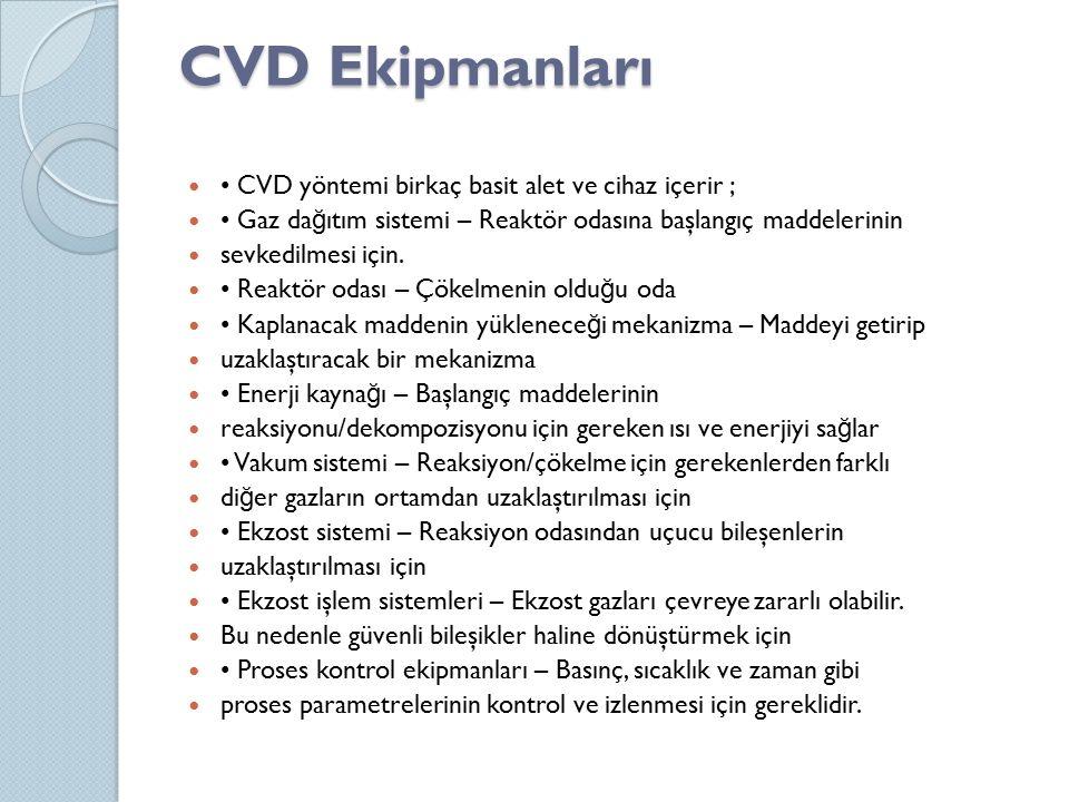 CVD Ekipmanları CVD yöntemi birkaç basit alet ve cihaz içerir ; Gaz da ğ ıtım sistemi – Reaktör odasına başlangıç maddelerinin sevkedilmesi için. Reak