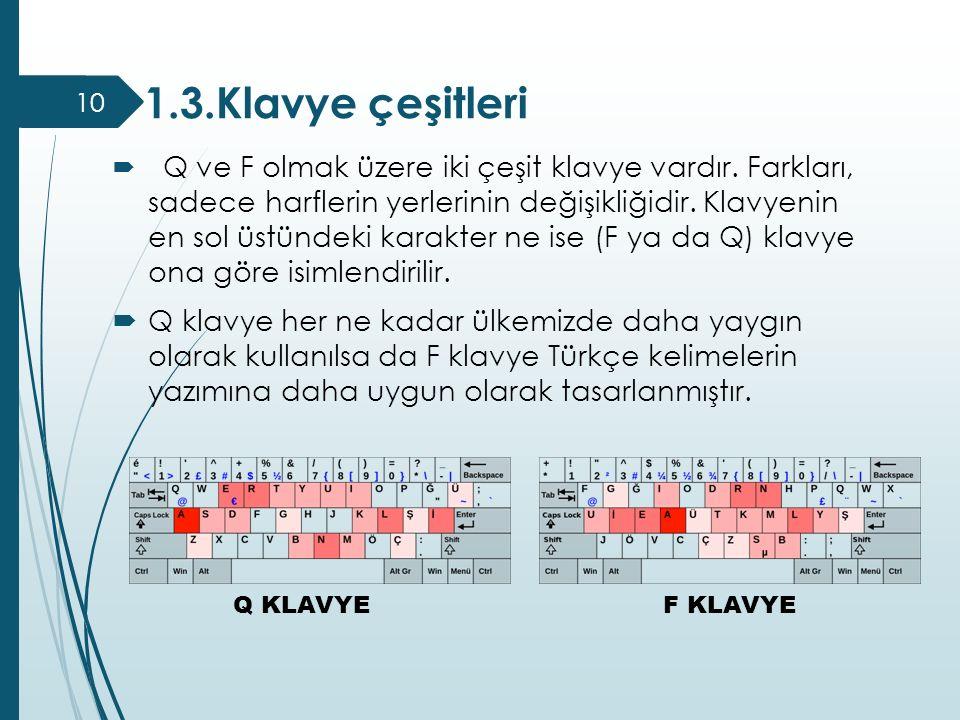 1.3.Klavye çeşitleri  Q ve F olmak üzere iki çeşit klavye vardır. Farkları, sadece harflerin yerlerinin değişikliğidir. Klavyenin en sol üstündeki ka