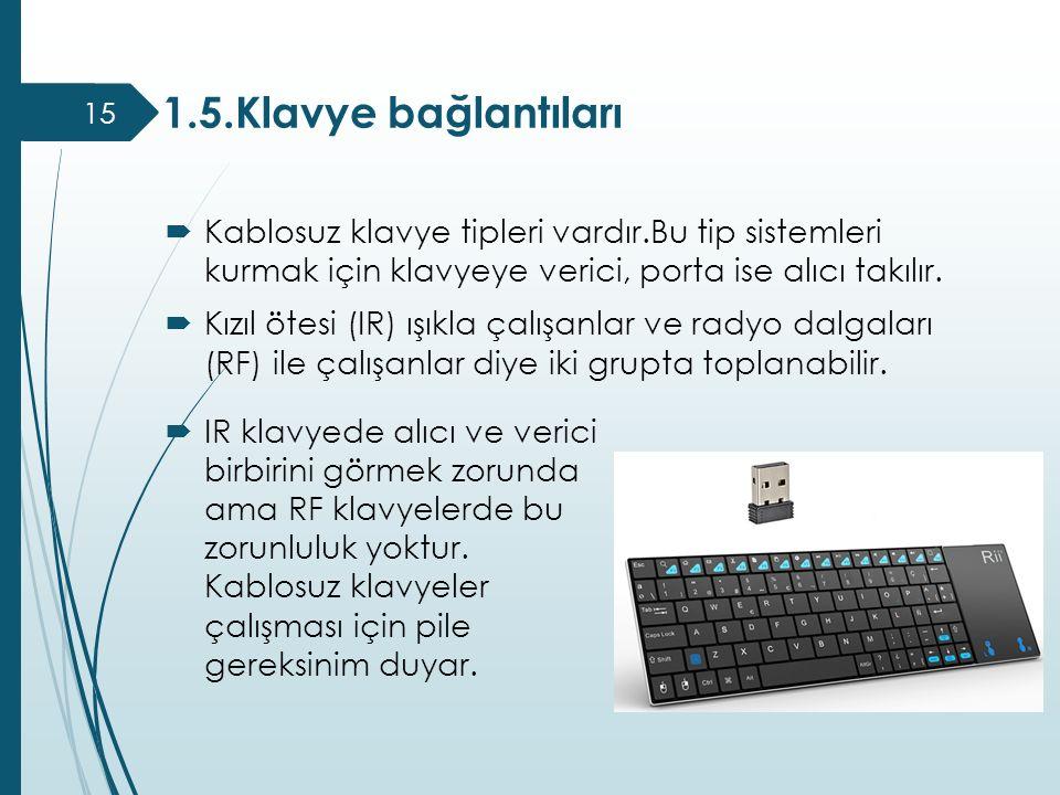  Kablosuz klavye tipleri vardır.Bu tip sistemleri kurmak için klavyeye verici, porta ise alıcı takılır.  Kızıl ötesi (IR) ışıkla çalışanlar ve radyo