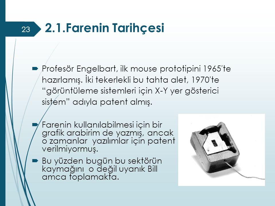 """2.1.Farenin Tarihçesi 23  Profesör Engelbart, ilk mouse prototipini 1965′te hazırlamış. İki tekerlekli bu tahta alet, 1970′te """"görüntüleme sistemleri"""