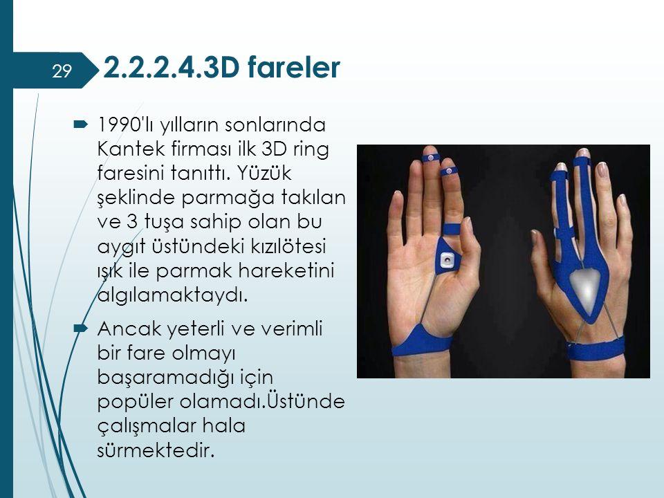 2.2.2.4.3D fareler  1990'lı yılların sonlarında Kantek firması ilk 3D ring faresini tanıttı. Yüzük şeklinde parmağa takılan ve 3 tuşa sahip olan bu a
