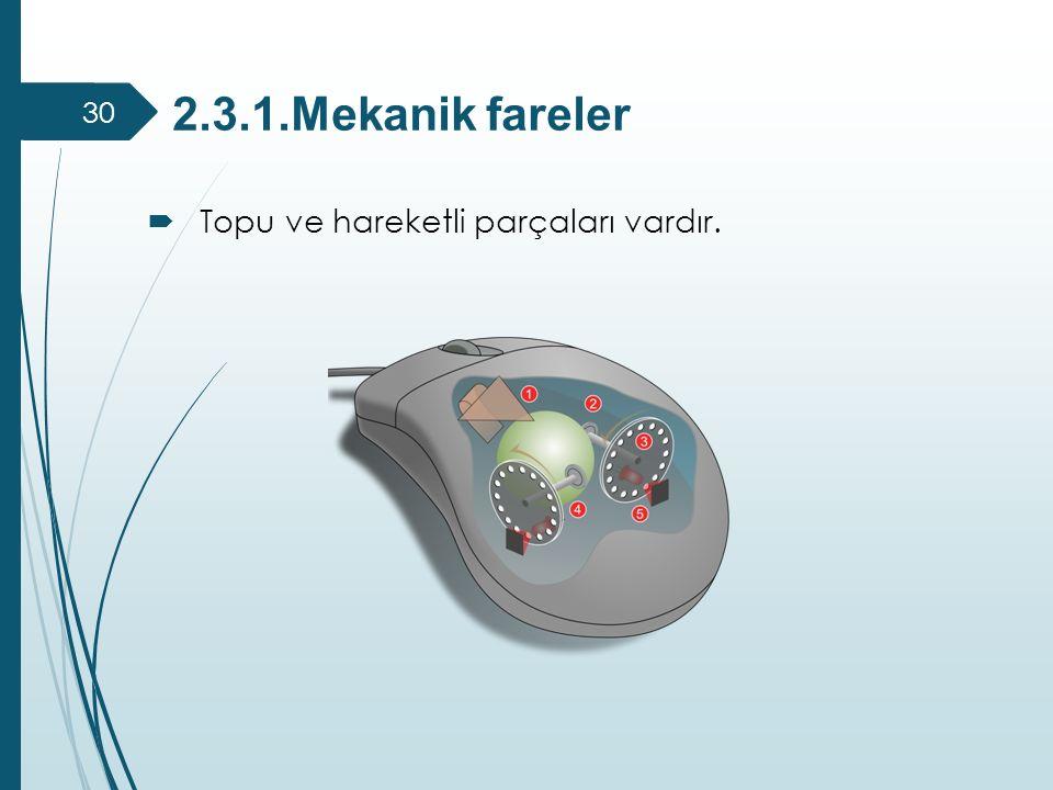 2.3.1.Mekanik fareler  Topu ve hareketli parçaları vardır. 30