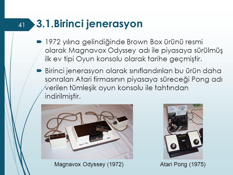 3.1.Birinci jenerasyon  1972 yılına gelindiğinde Brown Box ürünü resmi olarak Magnavox Odyssey adı ile piyasaya sürülmüş ilk ev tipi Oyun konsolu ola