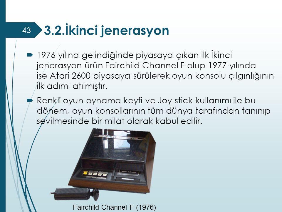  1976 yılına gelindiğinde piyasaya çıkan ilk İkinci jenerasyon ürün Fairchild Channel F olup 1977 yılında ise Atari 2600 piyasaya sürülerek oyun kons