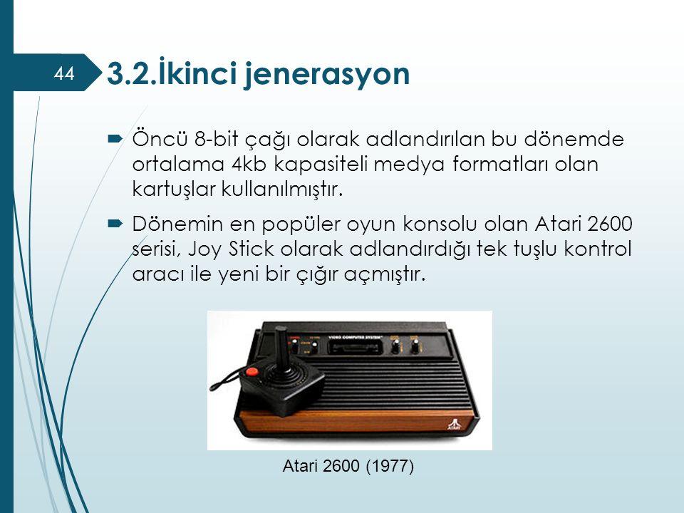  Öncü 8-bit çağı olarak adlandırılan bu dönemde ortalama 4kb kapasiteli medya formatları olan kartuşlar kullanılmıştır.  Dönemin en popüler oyun kon