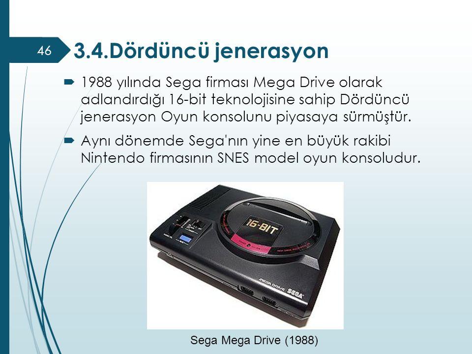  1988 yılında Sega firması Mega Drive olarak adlandırdığı 16-bit teknolojisine sahip Dördüncü jenerasyon Oyun konsolunu piyasaya sürmüştür.  Aynı dö