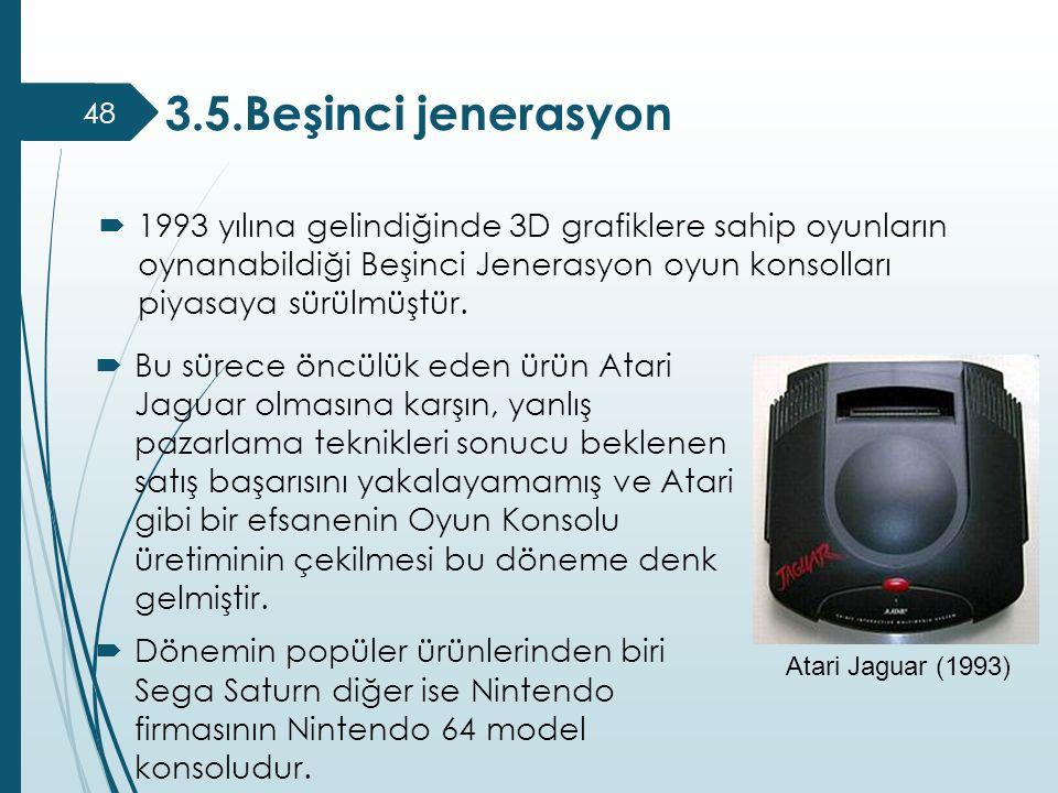  Bu sürece öncülük eden ürün Atari Jaguar olmasına karşın, yanlış pazarlama teknikleri sonucu beklenen satış başarısını yakalayamamış ve Atari gibi b